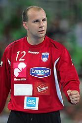 Gorazd Skof of Slovenia  during handball match between National teams of Slovenia and Ukraine of 2012 EHF Men's European Championship Play-off, on June 12, 2011 in Arena Stozice, Ljubljana, Slovenia. (Photo By Urban Urbanc / Sportida.com)