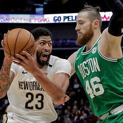 Nov 26, 2018; New Orleans, LA, USA; New Orleans Pelicans forward Anthony Davis (23) works against Boston Celtics center Aron Baynes (46) during the first quarter at the Smoothie King Center. Mandatory Credit: Derick E. Hingle-USA TODAY Sports
