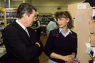 Alan Johnson, General Secretary of the CWU, talking to post office workers during the 1997 General Election, he was elected as the MP for Kingston upon Hull West and Hessle
