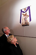 Clyde & Mary Pat Golden of Miamisburg look at station five at St. Luke the Evangelist before a performance of 'The Way of the Cross' at St. Luke Catholic Parish in Beavercreek, Friday, March 30, 2012.