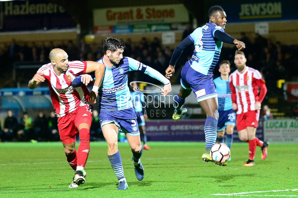 Wycombe Wanderers defender Aaron Pierre (6) clears his lines during the The FA Cup match between Wycombe Wanderers and Stourbridge at Adams Park, High Wycombe, England on 7 January 2017. Photo by Dennis Goodwin.