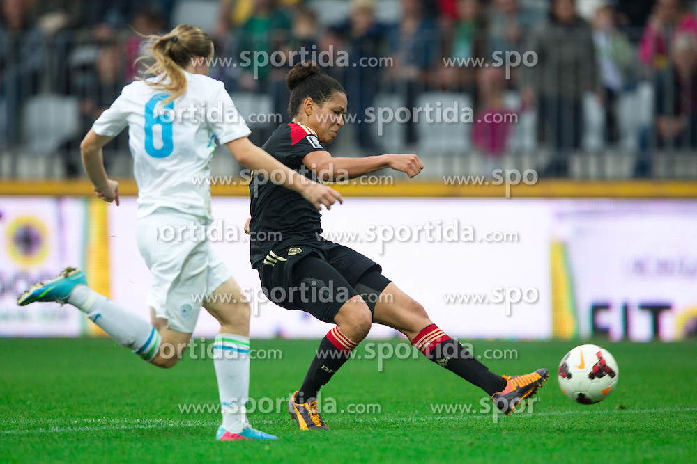 Celia Sasic of Germany scores a goal during FIFA Women's World Cup 2015 Group A qualification match between Slovenia and Germany on October 26, 2013 in SRC Bonifika, Koper, Slovenia. (Photo by Matic Klansek Velej / Sportida.com)