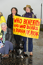 Sasha the dog joined environmental campaigners, members of Hands Over Our Forth (HOOF), Scotland Against Fracking and SNP Members Against Uncoventional Gas gathered at the Forth Bidges todaye to unveil a banner ahead of Sunday's demonstration against coal gasification.<br /> © Ger Harley/ StockPix.eu