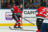KELOWNA, BC - OCTOBER 12: Trevor Wong #8 passes the puck to Jake Poole #23 of the Kelowna Rockets against the Kamloops Blazers at Prospera Place on October 12, 2019 in Kelowna, Canada. (Photo by Marissa Baecker/Shoot the Breeze)