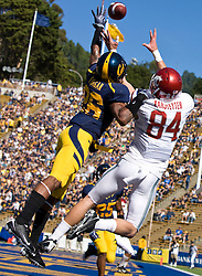 October 24, 2009; Berkeley, CA, USA;  California Golden Bears cornerback Darian Hagan (26) breaks up a pass intened for Washington State Cougars wide receiver Jared Karstetter (84) in the end zone during the first quarter at Memorial Stadium.
