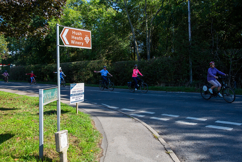 A group of electric bike cyclists indicate to turn onto the road leading to Hush Health Winery, Staplehurst, Kent, England, UK.  (photo by Andrew Aitchison / In pictures via Getty Images)