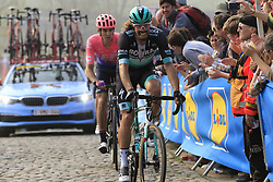 Daniel Oss (ITA) Bora-Hansgrohe and Thomas Scully (NZL) EF Education First climb the Paterberg for the last time during the 2019 Ronde Van Vlaanderen 270km from Antwerp to Oudenaarde, Belgium. 7th April 2019.<br /> Picture: Eoin Clarke | Cyclefile<br /> <br /> All photos usage must carry mandatory copyright credit (© Cyclefile | Eoin Clarke)