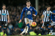Ross Barkley (Everton) chips the ball in from the penalty for Everton's third goal during the Barclays Premier League match between Everton and Newcastle United at Goodison Park, Liverpool, England on 3 February 2016. Photo by Mark P Doherty.