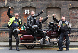 Repro Free: 16/09/2014 <br /> Paul Purcell (left) from Beaumont is pictured with Irish comedians Eric Lalor and  PJ Gallagher and fellow biker Philip Carey from Castleknock as they prepair to join over 60 motorcyclists from all over Ireland and depart on September 21st from Dublin for Chicago where they will begin their 2,444 mile journey across America, riding up Sunset Boulevard 12 days later. Now, in its 7th year, Irish comedians PJ Gallagher and Joe.ie writer Eric Lalor will leather up and take on the mother of all mother roads to help this group raise over &euro;250,000 for sick kids in Ireland.  This is a bi-annual trip and it has been running since 2002. It sees Temple Street&rsquo;s big-hearted bikers travel through 9 states and 4 different time zones; from Illinois through Missouri, Oklahoma, Kansas, Texas, New Mexico, Arizona, Nevada and finally California. As they ride this wonderful road, always on their minds are the brave little patients in Temple Street that urgently need the best possible care that can be given to them. Picture Andres Poveda