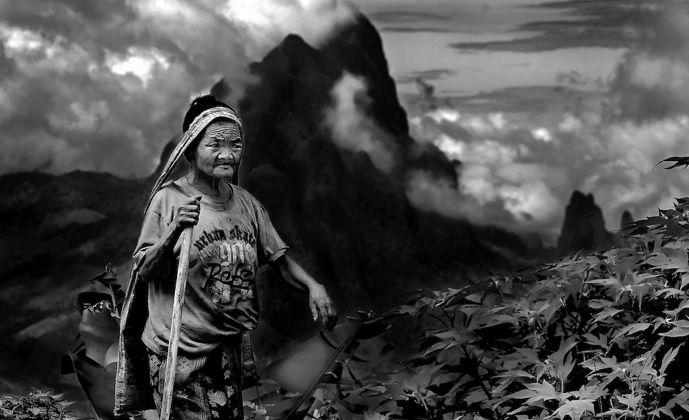A Hmong woman in the mountains near Vang Vieng, Laos.