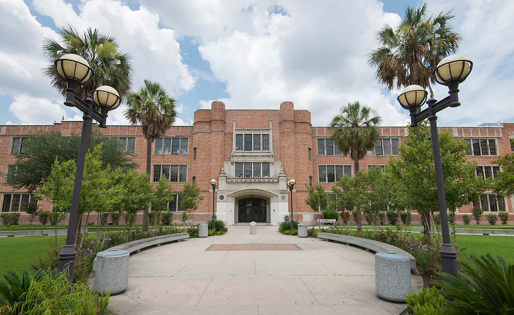 The main entrance to Reagan High School, July 14, 2014.