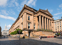 Former Sheriff Court Building now mixed use restaurant / bar and apartment complex on Brunswick Street in Merchant City of Glasgow, Scotland, united kingdom