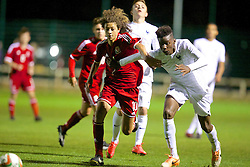 NEWPORT, WALES - Thursday, September 25, 2014: Wales' Ethan Ampadu in action against France during the Under-16's International Friendly match at Dragon Park. (Pic by David Rawcliffe/Propaganda)