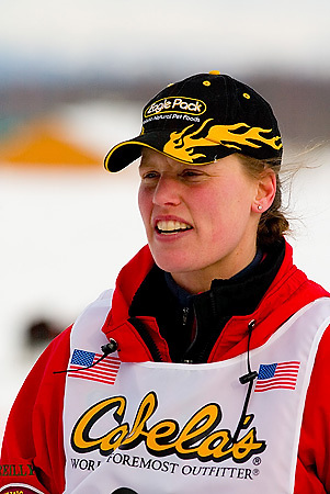05 March 2006: Willow, Alaska - Aliy Zirkle (26) of Two Rivers, AK heads out to Nome during the restart of the 2006 Iditarod on Willow Lake in Willow, Alaska