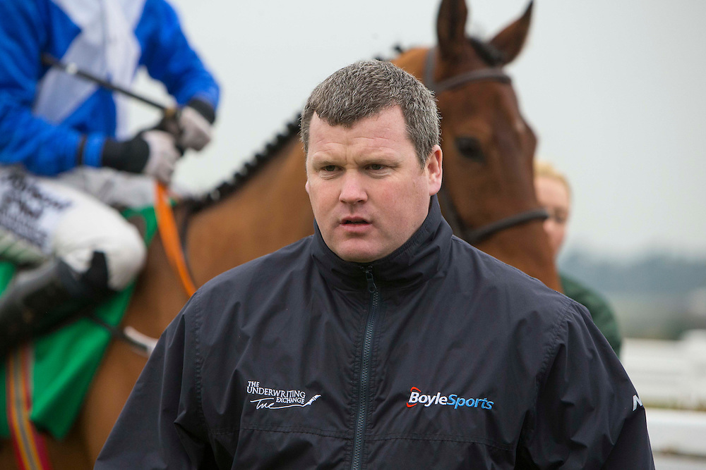 Navan Races, Saturday 27th February 2016.<br /> Gordon Elliott pictured in the parade ring at Navan before the start of the Nobber Maiden Hurdle<br /> Photo: David Mullen /www.cyberimages.net / 2016