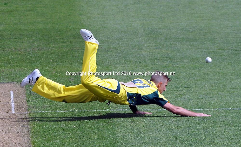 Australia's Adam Zampa miss-fields in the 2nd match of the Chappell-Hadlee ODI series, New Zealand vs Australia, Westpac Stadium, Wellington, Saturday, February, 06, 2016. Copyright photo: Kerry Marshall / www.photosport.nz