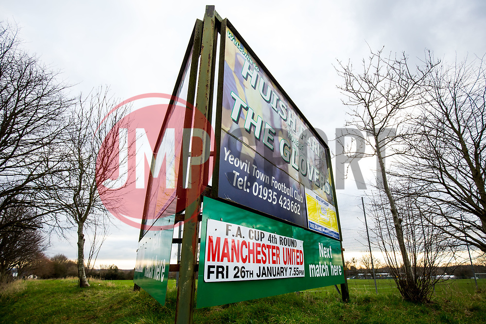 Sign outside Huish Park advertising Manchester United's visit  - Rogan/JMP - 26/01/2018 - FOOTBALL - Huish Park - Yeovil, England - Yeovil Town v Manchester United - FA Cup Fourth Round.
