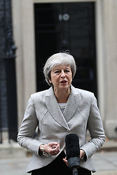 November 22, 2018 - London, London, United Kingdom - Image licensed to i-Images Picture Agency. 22/11/2018. London, United Kingdom. Prime Minister Theresa May  speaking  outside No10  Downing Street in London. (Credit Image: © Stephen Lock/i-Images via ZUMA Press)