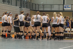 21 September 2013:  Titan huddle during an NCAA women's division 3 Volleyball match between the Lincoln Christian University Lady Lynx and the Illinois Wesleyan  University Titans in Shirk Center, Bloomington IL