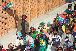 PRETORIA, May 25, 2019  People celebrate during the inauguration ceremony of newly-elected South African President Cyril Ramaphosa in Pretoria, South Africa, May 25, 2019. Newly-elected South African President Cyril Ramaphosa on Saturday said he is committed to tackling serious challenges the country faced in his inauguration ceremony in Loftus Versfeld stadium in Pretoria. (Credit Image: © Stringer/Xinhua via ZUMA Wire)