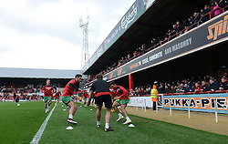 Bristol City players warm up before the game in front of the Bristol City fans - Mandatory by-line: Dougie Allward/JMP - 16/04/2016 - FOOTBALL - Griffin Park - Brentford, England - Brentford v Bristol City - Sky Bet Championship