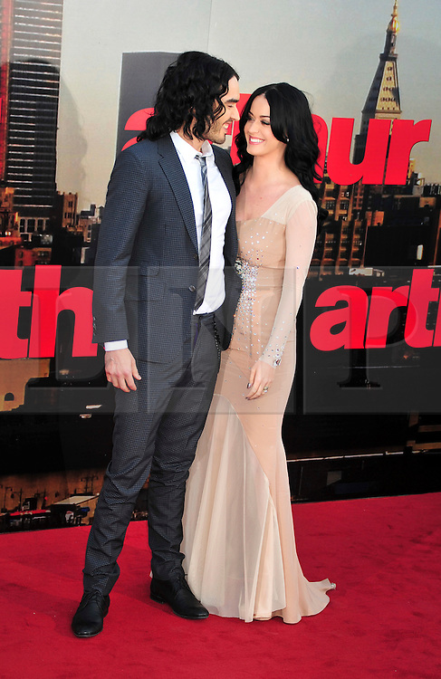 © licensed to London News Pictures. London, UK.  19/04/11. Russell Brand and Katy Perry attend the premiere of Arthur at The O2 in London.  Please see special instructions for usage rates. Photo credit should read ALAN ROXBOROUGH/LNP