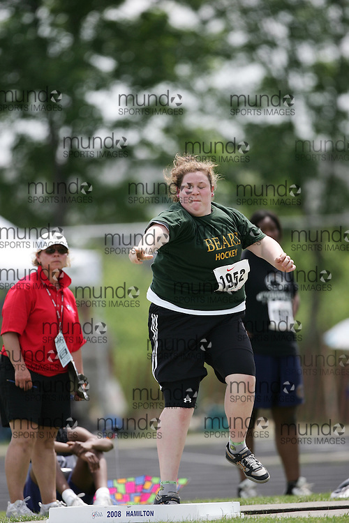 London, Ontario ---07/06/08--- Allison Loyst of St.JosephinScollard in North Bay competes in the shot put at the 2008 OFSAA Track and Field meet in Hamilton, Ontario..GEOFF ROBINS