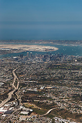 """San Diego Aerial"" - Aerial photograph from a plane of Downtown San Diego and the ocean."