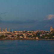 View of the Asian side of Istanbul as seen from the Bosphorus Strait at sunrise.