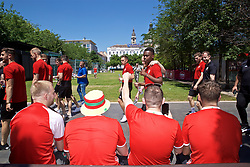 BUDAPEST, HUNGARY - Tuesday, June 11, 2019: Wales fans cheer as the players go past during a pre-match walk ahead of the UEFA Euro 2020 Qualifying Group E match between Hungary and Wales. (Pic by David Rawcliffe/Propaganda)