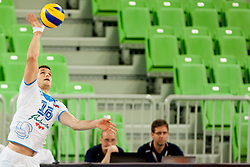 Gregor Ropret #16 of Slovenia during qualifications match for FIVB Men's World Championship 2014 between National team Slovenia and Israel in pool B on May 24, 2013 in SRC Stozice, Ljubljana, Slovenia. (Photo By Urban Urbanc / Sportida)