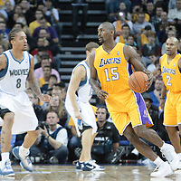 04 October 2010: Los Angeles Lakers forward Ron Artest dribbles against Minnesota Timberwolves forward Michael Beasley during the Minnesota Timberwolves 111-92 victory over the Los Angeles Lakers, during 2010 NBA Europe Live, at the O2 Arena in London, England.