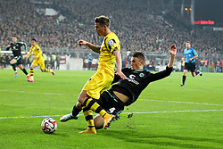 28.10.2014, Millerntor, Hamburg, GER, DFB Pokal, FC St. Pauli vs Borussia Dortmund, 2. Runde, im Bild <br /> l-r: im Zweikampf, Aktion, mit Erik Durm #37 (Borussia Dortmund) und Philipp Ziereis #4 (FC St. Pauli) // during German DFB Pokal 2nd round match between FC St. Pauli and Borussia Dortmund at the Millerntor in Hamburg, Germany on 2014/10/28. EXPA Pictures © 2014, PhotoCredit: EXPA/ Eibner-Pressefoto/ Kolbert<br /> <br /> *****ATTENTION - OUT of GER*****