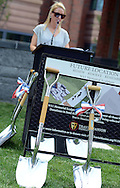 """Ryan Manion Borek speaks at the groundbreaking for the """"Renew. Resolve. Remember."""" 9/11 Memorial sculpture, which is incorporating an I-beam from the World Trade Center at the Bucks County Justice Center Wednesday July 1, 2015 in Doylestown, Pennsylvania. (Photo by William Thomas Cain)"""