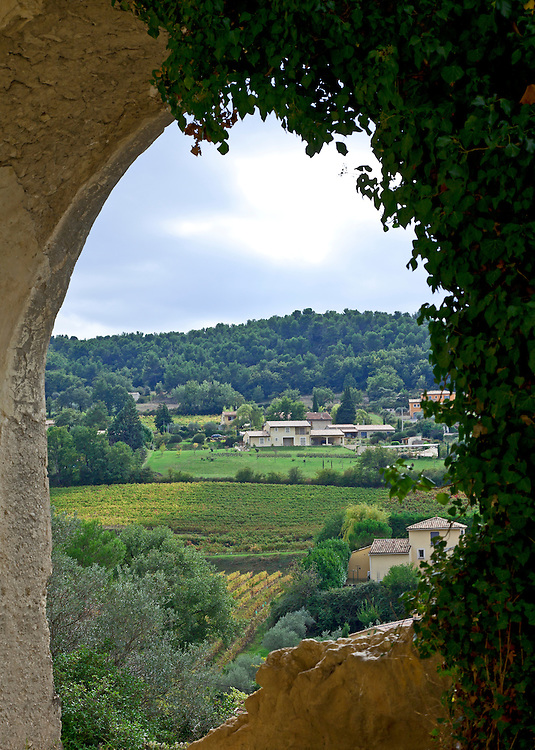 View of the Cotes du Rhone countryside from the medieval upper town of  Vaison-du-Romaine, a Gallo Roman historic site in the  Ventoux district of Provence, France.