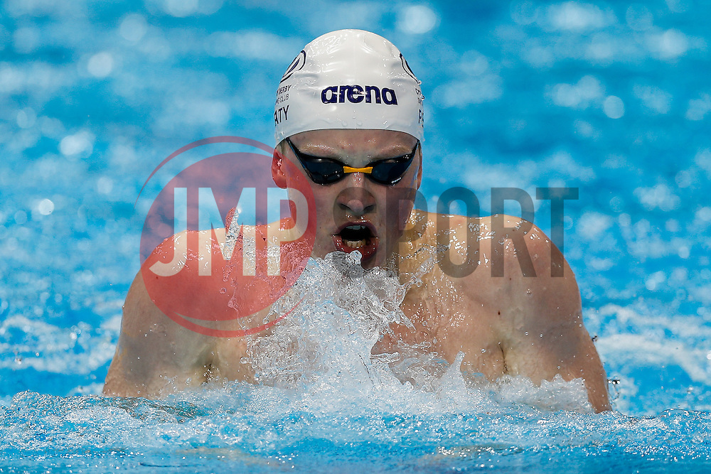 Adam Peaty from the City of Derby Swimming Club sets a New World Record to win the Mens 100m Breaststroke Final, with a time of 57.92 seconds- Photo mandatory by-line: Rogan Thomson/JMP - 07966 386802 - 16/04/2015 - SPORT - SWIMMING - The London Aquatics Centre, England - Day 4 - British Swimming Championships 2015.