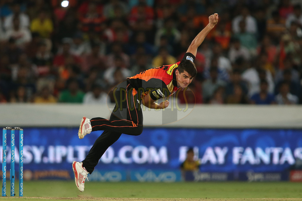 Moises Henriques of Sunrisers Hyderabad sends down a delivery during match 27 of the Vivo IPL 2016 (Indian Premier League) between the Sunrisers Hyderabad and the Royal Challengers Bangalore held at the Rajiv Gandhi Intl. Cricket Stadium, Hyderabad on the 30th April 2016<br /> <br /> Photo by Shaun Roy / IPL/ SPORTZPICS