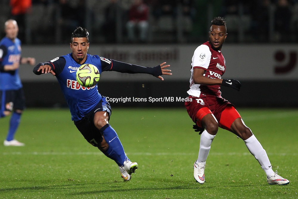 Nabil DIRAR / Cheick DOUKOURE - 20.12.2014 - Metz / Monaco - 17e journee Ligue 2<br />Photo : Fred Marvaux / Icon Sport