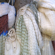 Benin November 27, 2001 - Large fishing net on the wall on the lake in northem of Cotonou