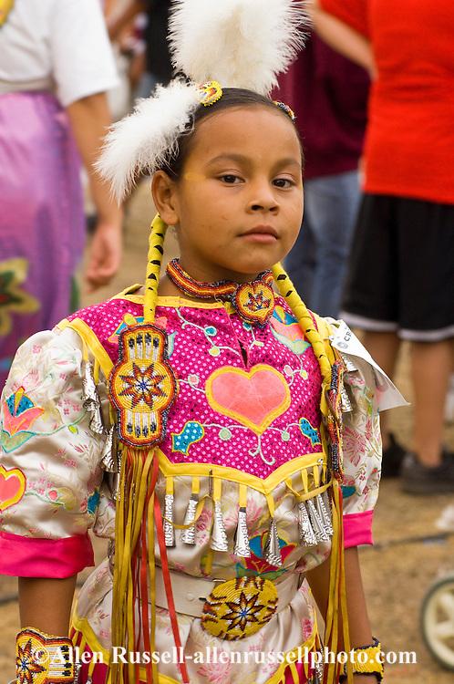 Young, Crow, Jingle Dancer, Crow Fair powwow, Crow Indian Reservation, Montana