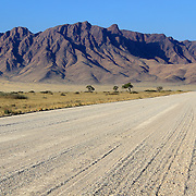 Grassy Savannah with mountains in background, Namib desert road to Sesriem, Namibia.