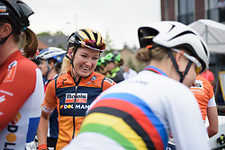 Amy Pieters shares a joke with Dideriksen at Boels Rental Ladies Tour Stage 4 a 121.4 km road race from Gennep to Weert, Netherlands on September 1, 2017. (Photo by Sean Robinson/Velofocus)