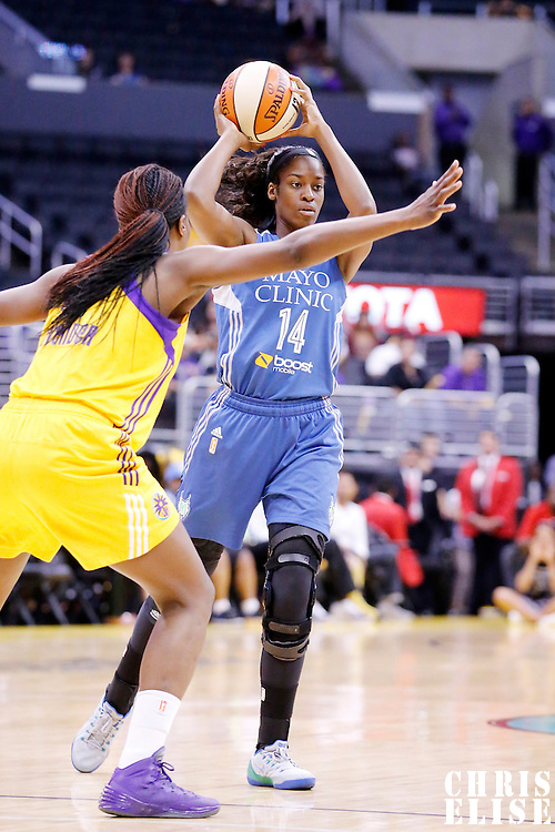 17 June 2014: Minnesota Lynx forward Devereaux Peters (14) looks to pass the ball during the Minnesota Lynx  94-77 victory over the Los Angeles Sparks, at the Staples Center, Los Angeles, California, USA.