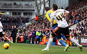 Ross McCormack fouling with Richard Keogh during the Sky Bet Championship match between Fulham and Derby County at Craven Cottage, London, England on 28 February 2015. Photo by Matthew Redman.