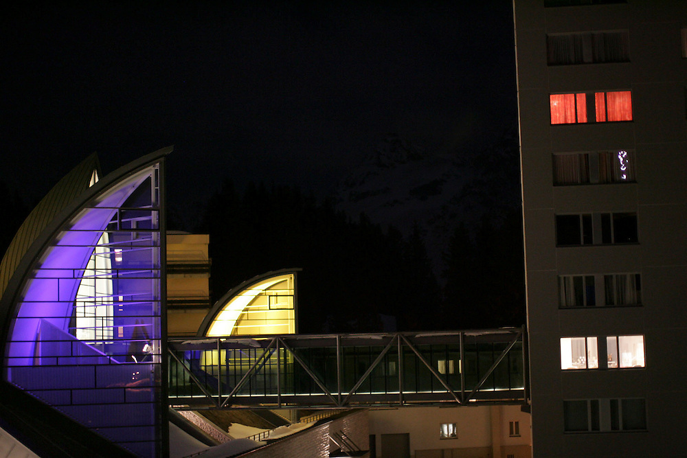 An outside view of the hotel and the spa.Location Arosa(Switzerland)