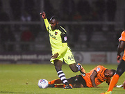 Exeter City player Hiram Boating avoids a sliding tackle in the second half during the EFL Sky Bet League 2 match between Barnet and Exeter City at Underhill Stadium, London, England on 12 September 2017. Photo by Ian  Muir.