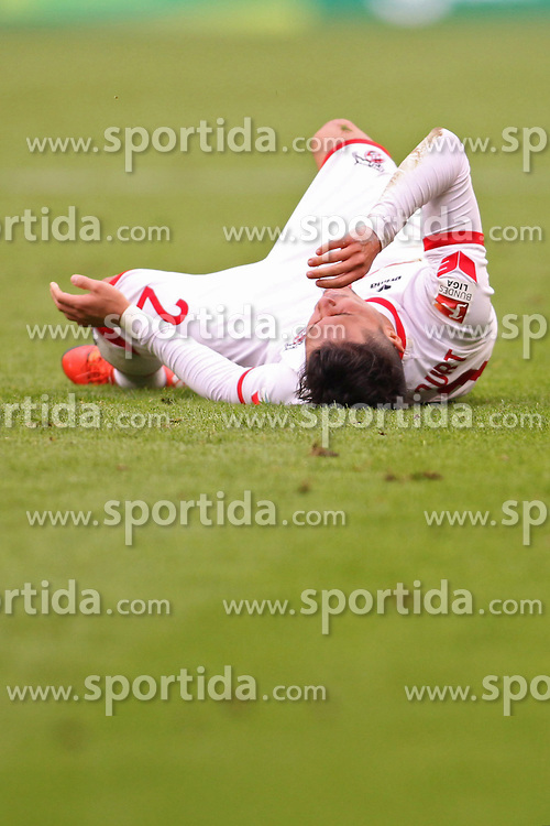 18.10.2015, Rhein Energie Stadion, Koeln, GER, 1. FBL, 1. FC Koeln vs Hannover 96, 9. Runde, im Bild Leonardo Bittencourt (1. FC Koeln #21) am Boden // during the German Bundesliga 9th round match between 1. FC Cologne and Hannover 96 at the Rhein Energie Stadion in Koeln, Germany on 2015/10/18. EXPA Pictures &copy; 2015, PhotoCredit: EXPA/ Eibner-Pressefoto/ Schueler<br /> <br /> *****ATTENTION - OUT of GER*****