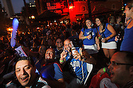 Orlando Magic fans pack Wall Street Plaza to watch Game 4 of the NBA Finals on a 15x20 ft. projection TV, Los Angeles Lakers at Orlando Magic, Orlando, Thursday, June 11, 2009 (Roberto Gonzalez/Orlando Sentinel)