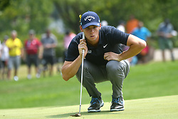 August 12, 2018 - St. Louis, Missouri, U.S. - ST. LOUIS, MO - AUGUST 12: Thomas Pieters lines up his putt on the #1 green during the final round of the PGA Championship on August 12, 2018, at Bellerive Country Club, St. Louis, MO.  (Photo by Keith Gillett/Icon Sportswire) (Credit Image: © Keith Gillett/Icon SMI via ZUMA Press)