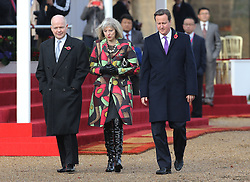 (L-R) William Hague, Theresa May and David Cameron during the President of the Republic of Korea Her Excellency Park Geun-hye  ceremonial welcome visit to the UK, Horse Guards Parade, London, Tuesday, 5th November 2013. Picture by Stephen Lock / i-Images